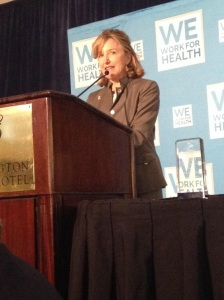 Senator Kay Hagan (D-NC) accepting the 2014 We Work for Health Legislator of the Year Award